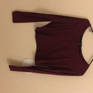 Long burgundy crop top long sleeve